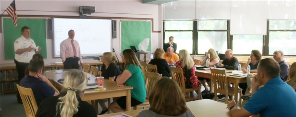 School district employees learn during an administrative retreat